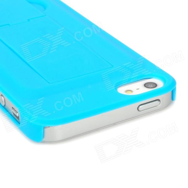 Protective Plastic Hard Back Case w/ Bracket for Iphone 5 - Blue pannovo silicone shockproof fallproof dustproof case cover for samsung galaxy note 3 n9000 black