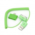 30-Pin Female to 8-Pin Lightning Male Adapter + USB Data/Charging Coiled Cable for iPhone 5 - Green