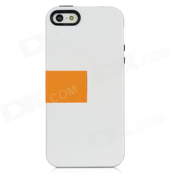 BASEUS RBAPIPH5-02 Protective Plastic Back Cover Case w/ HD Screen Guard Film for iPhone 5 - White