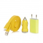 8 Pin Blitz Stecker auf USB Stecker Kabel + Car Charger + AC Power Adapter + für iPhone 5 - Yellow