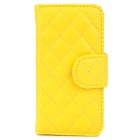 Plaid Pattern Flip-Open PU Case w/ Magnetic Buckle + Card Slots for Iphone 5 - Yellow