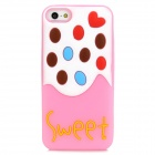 Cute Pattern Silicone Back Case for iPhone 5 - Pink + White