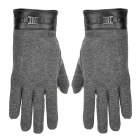 Hand Warmer Full-Finger Winter Gloves for Touch Screen Device - Grey (Pair)