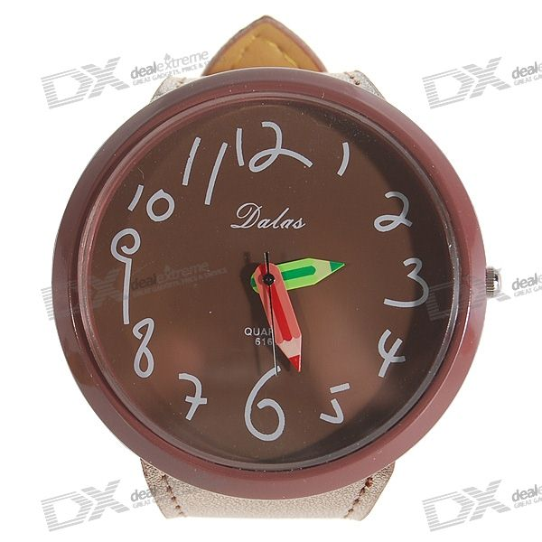 Trendy Brown Leather Band Quartz Wrist Watch