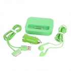 4-in-1 Micro Data / Ladestation + Kopfhörer + Car Charger + USB Kabel für iPhone 4S + More - Grün