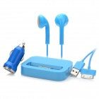 USB Car Charger + USB to Apple 30pin Cable + Earphones + 30pin Charging Dock for iPhone - Blue