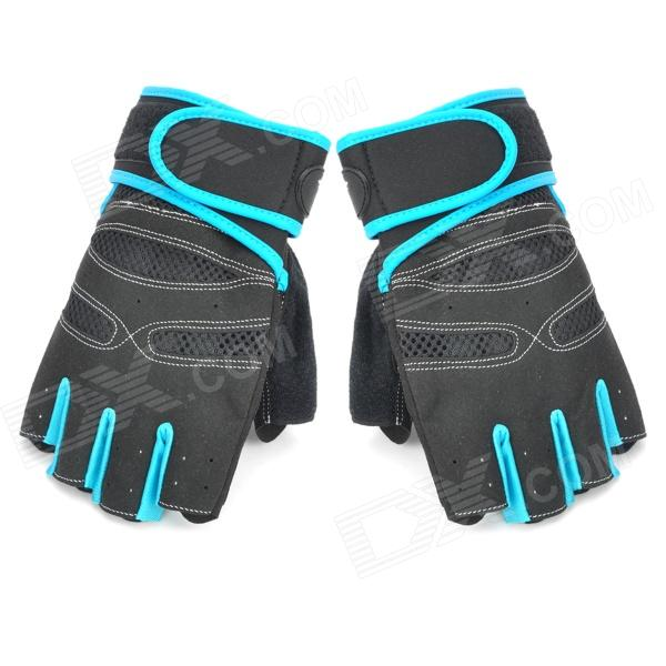 XLY202 Professional Anti-Skid Fitness Sports Half-Finger Gloves (Size-XL /Black + Blue)