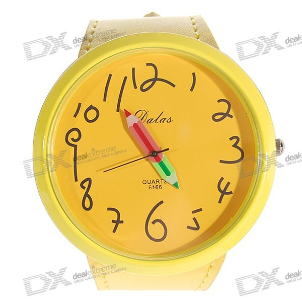 Trendy Yellow PU Leather Band Quartz Wrist Watch