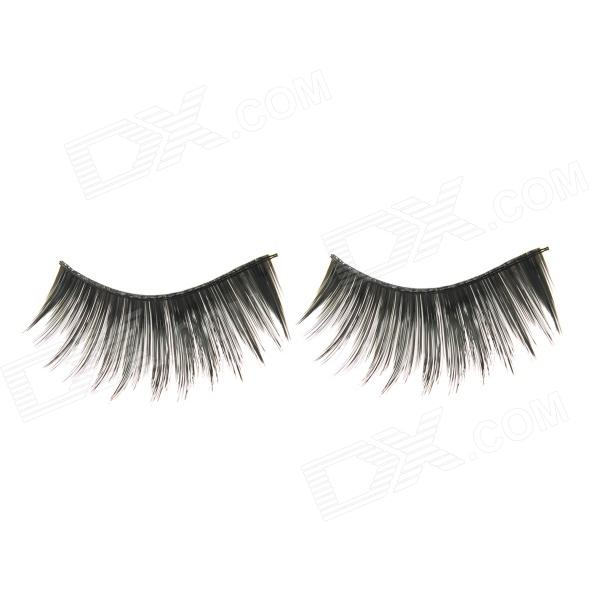ZX-001 Natural Curled Lengthened Artificial Eyelashes w/ Glue - Black
