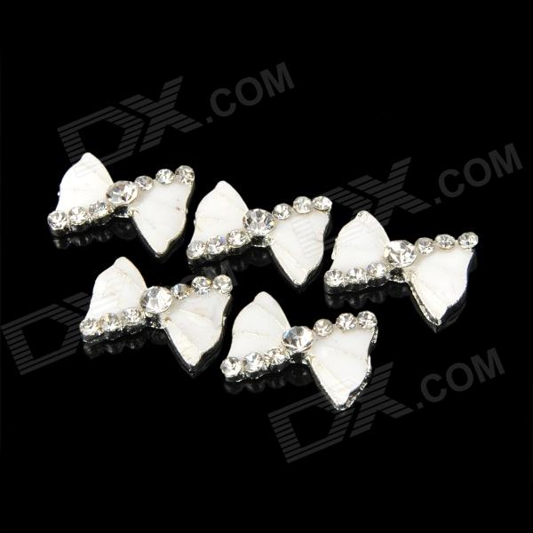 KX-310 DIY Alloy Rhinestones Bowknot Glitter Slices Nail Stickers - Silver + White (5 PCS)Nail Care &amp; Art<br>Model KX-310 Color Silver + white Material Alloy Quantity 5 Functions Great for both professional nail specialist or nail art learner; It makes your Nails look elegance and special; Easy to apply on natural or artificial nails; You can also use them to decorate your home cell phone case glasses invitation card body art etc. Features Clean the surface of your nails brush the base polish; Place it onto nails; With this set your nail will be more attractive Packing List 5 x Bowknot stickers<br>