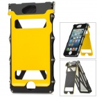 Flip-Open Protective Aluminum Alloy Full Body Case w/ Screen Protector for iPhone 5 - Black + Yellow