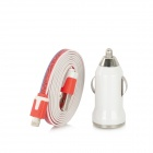 SSS-22 Car Cigarette Lighter Charger w/ Lightning 8-Pin to USB 2.0 Flat Cable for iPhone 5 - White