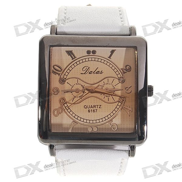 Stylish White Leather Band Man's Quartz Wrist Watch