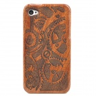 Carved Gears Pattern Protective Detachable Bamboo + Wooden Back Case for iPhone 4 / 4S - Brown