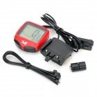 "1"" LCD Water Resistant Bike Computer Odometer Speedometer - Black + Red (1 x CR2032)"