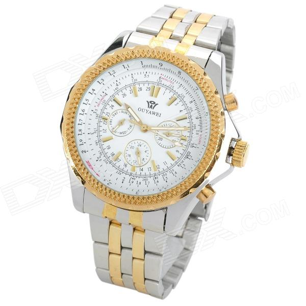 OUYAWEI 1033A-1 Fashionable Man's Auto Mechanical Wrist Watch - White + Golden fashion men mechanical hand wind watches men skeleton stainless steel wristwatches for male luxury golden watch men