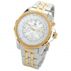 OUYAWEI 1033A-1 Fashionable Man's Auto Mechanical Wrist Watch - White + Golden