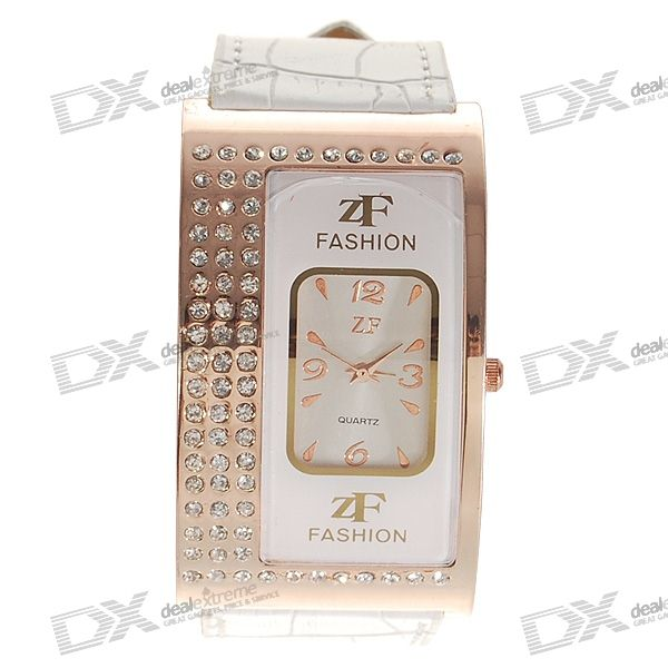 Cambered White Leather Band Crystal Quartz Wrist Watch