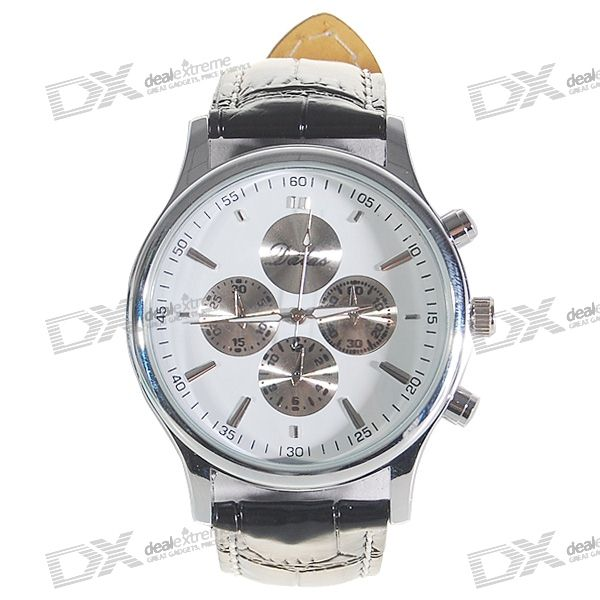 Elegant Men's Leather Band Wrist Watch