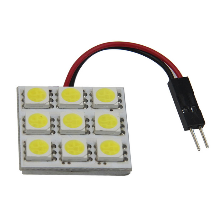 FD50-9W T10 BA9S Festoon 1W 6000K 110lm 9-SMD 5005 LED White Car Reading / Room Lamp (12V)