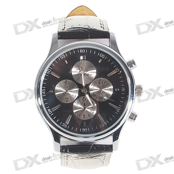 Elegant Men's Leather Band Quartz Wrist Watch