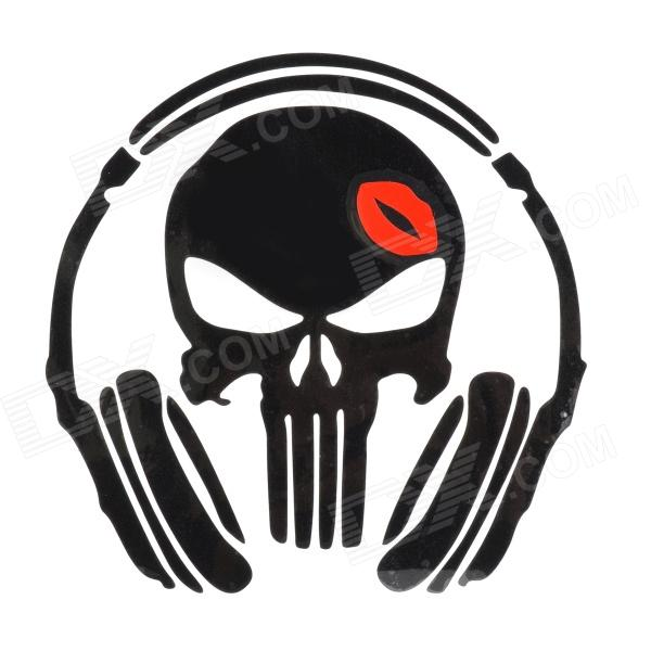 Music Skull Style Car / Motorcycle Reflective Sticker - Black