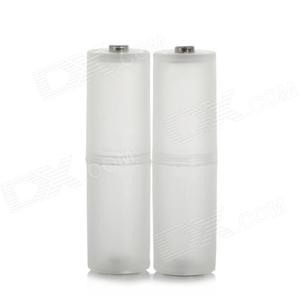 AAA-to-AA Type Battery Converter Cases - Translucent White + Silver (2-Case)