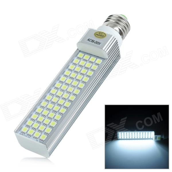 E27 10W 850lm 6300K 52-5050 SMD LED White Light Lamp (AC 86~265V) - DXE27<br>Material Aluminum + plastic Color Silver + white Quantity 1 Emitter Type 5050 SMD LED Total Emitters 52 Power 10 W Color BIN White Rate Voltage 86~265 V Chip Working Voltage N/A Luminous Flux 800~850 lm Color Temperature 6000~6300 K Wavelength N/A nm Connector Type E27 Packing List 1 x Lamp<br>