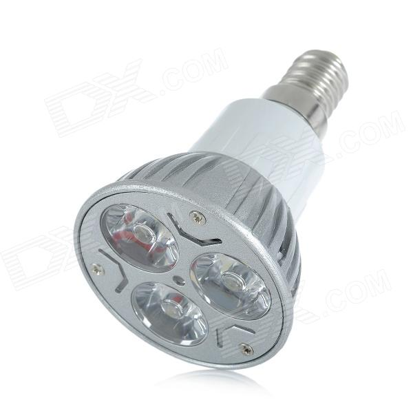 E14 3W 196lm 3000K 3-LED Warm White Spotlight (AC 85~265V)E14<br>MaterialAluminum alloyColorSilverQuantity1Emitter TypeLEDTotal Emitters3Power3 WColor BINWarm WhiteRate Voltage85~265 VLuminous Flux196 lmChip Working VoltageN/AColor Temperature3000 KWavelengthN/A nmConnector TypeE14ApplicationHome and hotel lightningPacking List1 x Spotlight<br>