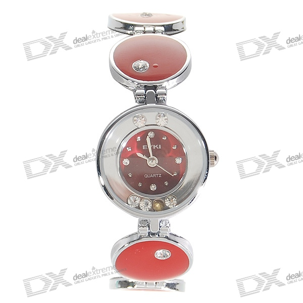 Charming Red Stainless Steel Lady's Crystal Quartz Wrist Watch