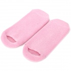 Moisturize Soften Repair Cracked Skin Moisturizing Treatment Gel Spa Socks - Pink + White