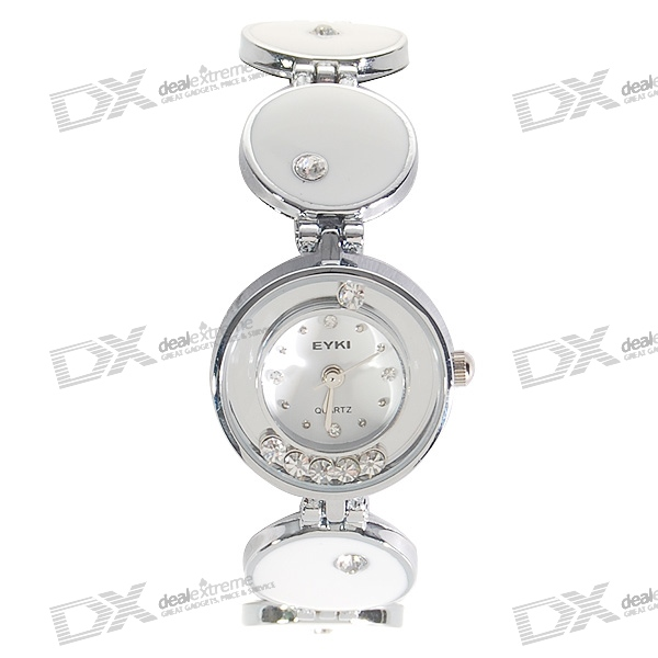 Charming White Stainless Steel Lady's Crystal Quartz Wrist Watch
