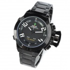 WEIDE WH1008-B1 Men's Stainless Steel Quartz LED Analog + Digital Wrist Watch - Black
