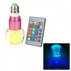 E27 3W 250lm RGB Light Crystal LED Bulb w/ 24-Key Remote Control - Pink + Yellow (85~265V)