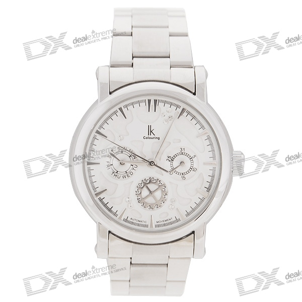 Gentle Crystals Stainless Steel Self-Winding Mechanical Wrist Watch