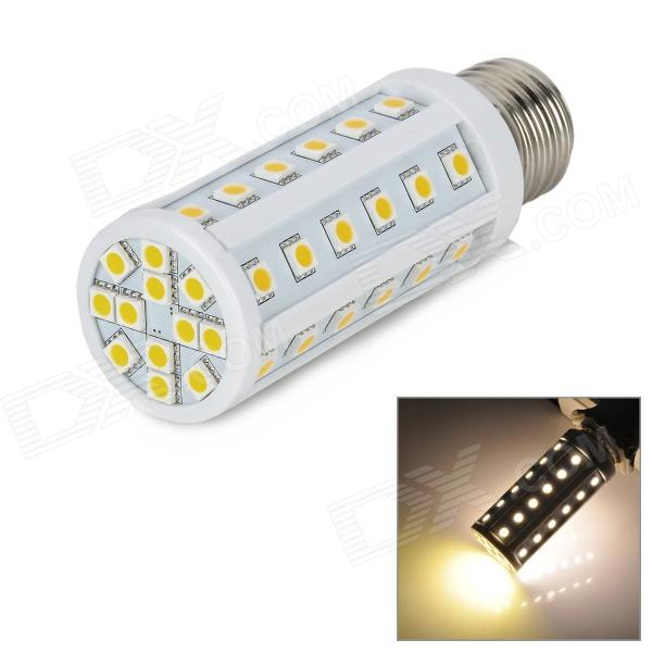 E27 9.6W 672lm 3500K 48-5050 SMD LED Warm White Light Lamp (85~265V)E27<br>Model E27 Material PVC Color White Quantity 1 Emitter Type 5050 SMD LED Total Emitters 48 Power 9.6 W Color BIN Warm white Rate Voltage 85~265 V Chip Working Voltage N/A Luminous Flux 576~672 lm Color Temperature 3000~3500 K Wavelength No nm Connector Type E27 Application Widely use for market hotel meeting room exhibition hall etc. Packing List 1 x LED lamp<br>