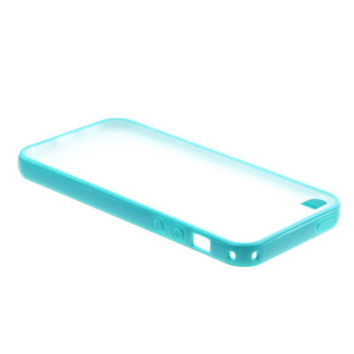 Protective Matte Plastic Case for Iphone 5 - Cyan + Transparent roar korea all day matte case tpu skin for iphone 7 plus 5 5 inch orange