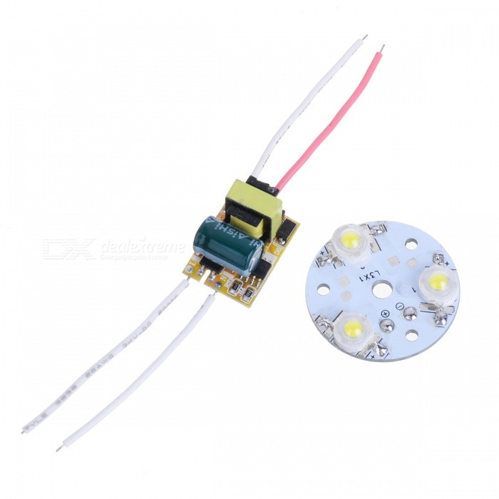 3W 120lm 6500K 1-LED White Light Module w/ Power Supply - Silver + Yellow + Green (AC 100~240V) feng ling sb5512 ultrathin young model double eyelid tapes white yellow 240 pieces pack