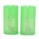 Plastic 2 x AA to Type-D Battery Holders - Green (2 PCS) 