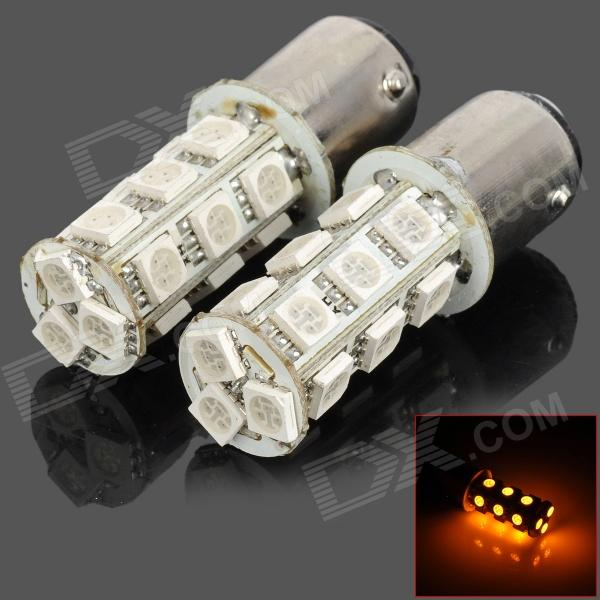 115750-18Y 1157 3.5W 200lm 18-SMD 5050 LED Yellow Car Steering / Brake / Tail / Head Lights (2 PCS) 115750 13w 1157 2 3w 250lm 13 smd 5050 led white car steering brake tail backup lights