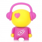 20780 Cute Music Man Style Rubber USB 2.0 Flash Drive Disk - Yellow + Purple (4GB)
