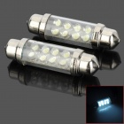 Festoon 39mm 0.8W 25lm 8-LED White Light Leselampe - Silber (2 PCS)