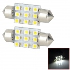 Festoon 36mm 0.9W 36lm 9-SMD 1210 LED White Light Car Interior / Reading Lamp (DC 12V / 2 PCS)