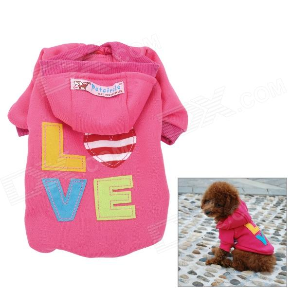 Love Letter Pattern Cotton Coat / Hoody for Pet Dog / Cat - Deep Pink christmas velcro warm casual cotton shoes for pet cat dog white red size xxl 4 pcs