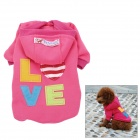 Love Letter Pattern Cotton Coat / Hoody for Pet Dog / Cat - Deep Pink