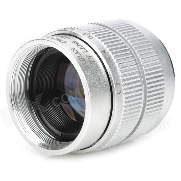 35mm F1.7 CCTV Lens + Macro Rings + C-M4/3 Adapter Ring Set for Olympus / Panasonic - Silver 60mm f 2 8 2 1 2x super macro manual focus lens for micro 4 3 m43 panasonic dmc gf2 gf1 g2 gf3 g5 gh4 gh3 e m5 ep 3 e pl3