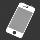 Protective Tempered Glass Screen Protector w/ Home Button Stickers for iPhone 4 / 4S - White