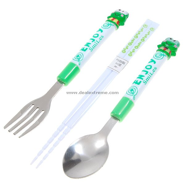 Stainless Spoon and Fork with Stylish Handle Resin Chopstick Set