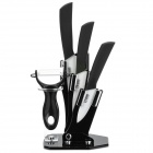 "TJ 001 3"" + 4"" + 5"" Kitchen Ceramic Knives Set w/ Peeler + Holder - White + Black (3 PCS)"