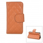 Checked Pattern Protective PU Leather Case for Iphone 5 - Brown